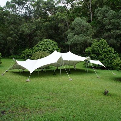 stretch tents in the garden