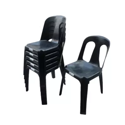 black chairs stack black