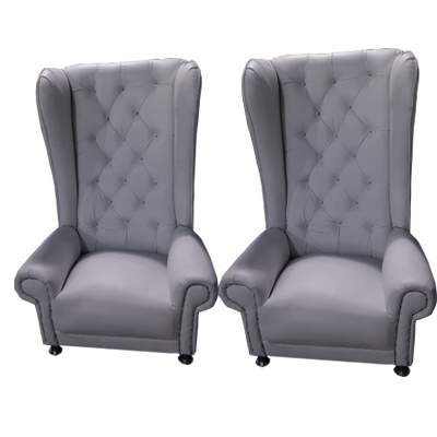 grey king and queen chairs