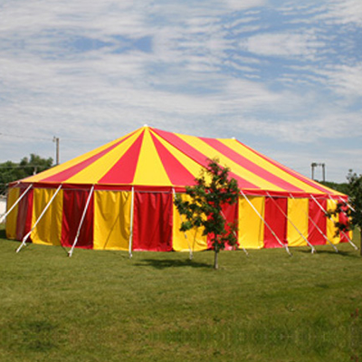 Red and orange peg and pole tents marquee