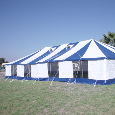 blue and white marquee peg and pole tents for sale