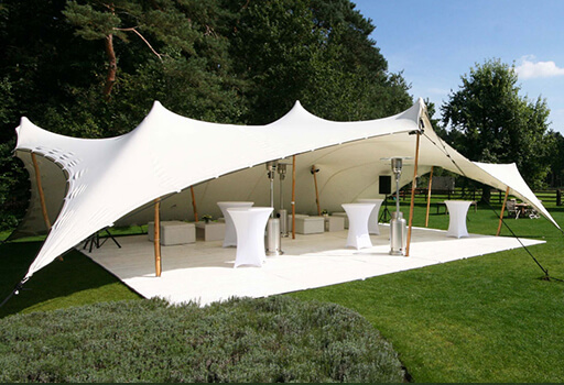 white stretch tents